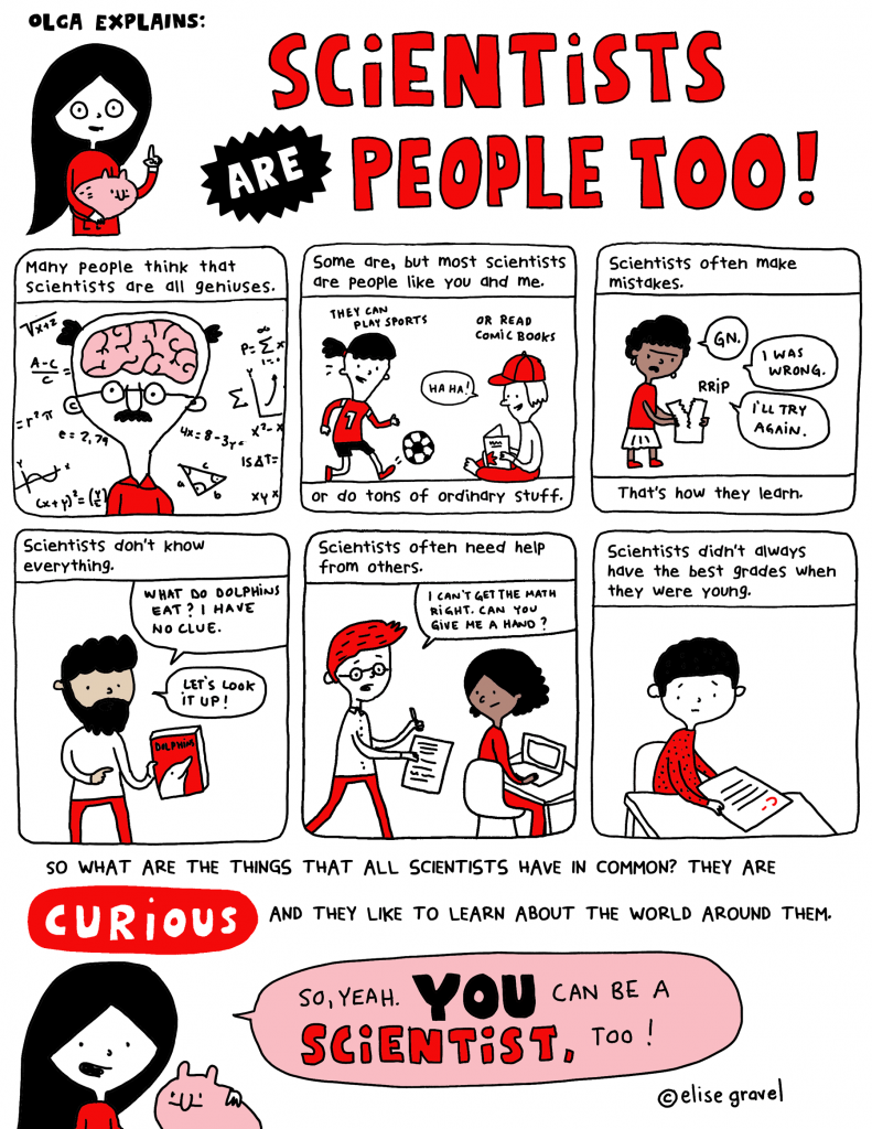 Illustration reminding us that scientists have many human qualities