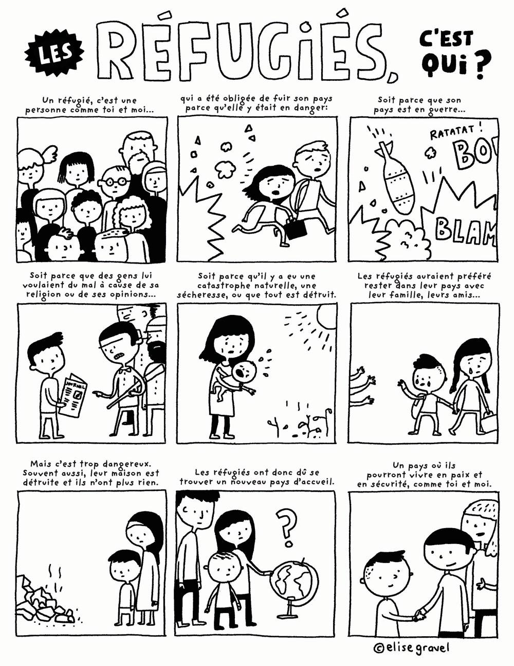 Réfugiés à colorier